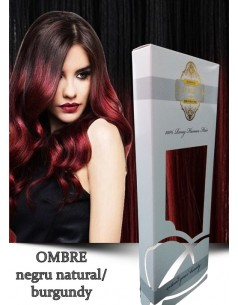 Tape IN WhitePlatinum Ombre Negru Natural Burgundy