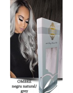 Clip-On Gold Ombre Negru Natural Grey