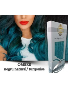 Clip-On WhitePlatinum Ombre Negru Natural Turqouise