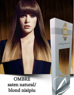 Clip-On WhitePlatinum Ombre Saten Nat Blond Nisip