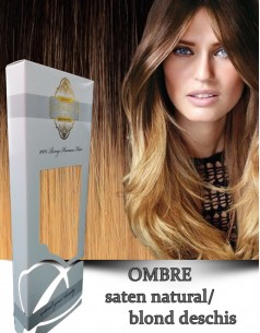 Clip-On WhitePlatinum Ombre Saten Natural Blond Deschis