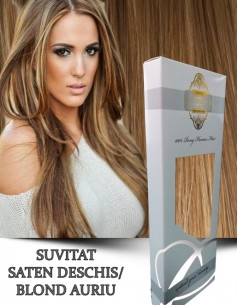 Extensii Tape IN Silver Suvitat Saten Deschis Blond Auriu